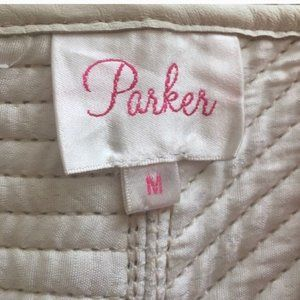 "Parker Tops - Parker ""Marilyn"" Leather/Silk top in White, SzM"